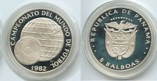 1982 Panama Large Silver  Proof 5 Balboas World Cup Soccer