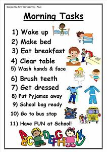Morning tasks poster male~female. Autism~Special needs All A4 size