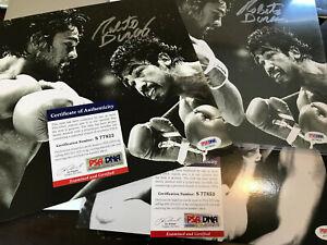 Roberto Duran Signed 8x10 autograph PSA/DNA COA auto ripping hook to Palomino