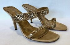 Lerre Metallic Gold Metal Mesh Slides. 3 Inch Stiletto Heels. Sz. 38 / 8
