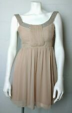 9bed28a436c NWT Ladies Frock And Frill Tan Sheer Beaded Collar Sleeveless Mini Dress  Size 10