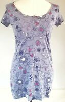 Mantaray Women's Top Tunic Blue Pink Size 10 100% Cotton Casual Floral VGC