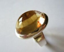 GENUINE CABOSHON OVAL CITRINE  925 STERLING SILVER RING SIZE P1/2 NEW