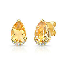 2.35 TCW 18k Yellow Gold Natural Pear Cut Citrine Diamond Teardrop Stud Earrings