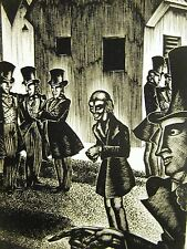 Lynd Ward 1930 VILLAGE MEN at ODDS w the INTELLECTUAL Art Deco Print Matted