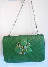 Straw Sand Clutch Flower Bag Purse Handbag NEW Beaded Green Handbag Chain Only 1
