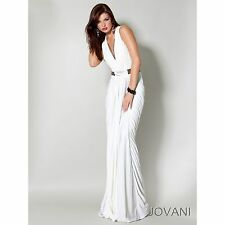 NEW JOVANI 9165 BLACK or WHITE Long Gown Dress Prom Formal Pageant Prom Sz 0-14
