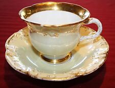 MEISSEN 1800'S HEAVY GILDED PORCELAIN CUP AND SAUCER SET
