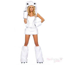 LADIES SEXY POLAR BEAR SNOW WOLF FANCY DRESS COSTUME/OUTFIT WILL FIT SIZE 2/4/6