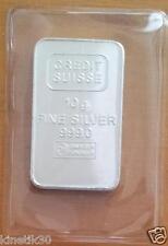 10 gr gram Credit Suisse Silver Bar Bullion pure 999 plastic sleeve