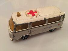 Vintage Majorette No244 VW Fourgon Van Ambulance In White Volkswagen Bay Window