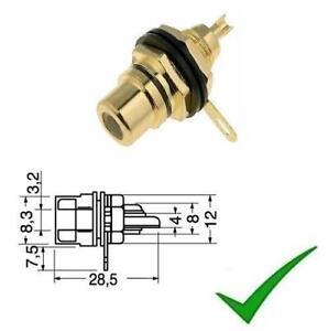 Connettore presa RCA femmina da pannello dorato nero professionale