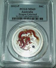 2012 PCGS MS69 Australian Dragon 1/2 oz Silver Red Colored Coin 50 Cent Spots
