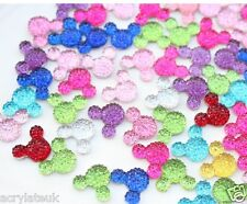 60x Mixed Colours 14mm Flat Back Mickey Minnie Mouse Head Resin Rhinestones Gems