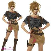 WOMENS DELUXE ZOMBIE HUNTRESS TOMB RAIDER ADULT HALLOWEEN FANCY DRESS COSTUME