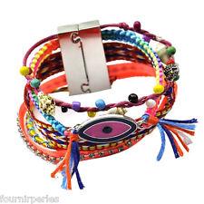 FP Bracelet Brésilien Yeux Strass Franges Coloré Tressé Ethnique 19cm