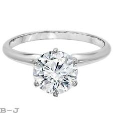 Engagement Ring Solitaire 14K White Gold 2.50 Ct Round Brilliant Diamond Cut