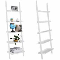 White 5-Tier Bookcase Bookshelf Leaning Wall Plant Shelf  Ladder Storage Display