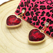 Heart Ab Crystal Women Stand Earrings Hot Betsey Johnson Sweet Girl Shines Red
