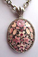 Imposant pendentif chaîne bijou vintage couleur argent fleur émail rose 2279