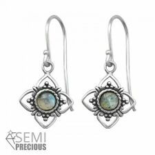 925 Sterling Silver Flower with Labradorite Gemstone Drop/Dangle Earrings