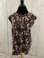 Ann Taylor Women's Size Large Sleeveless Blouse Top Burgundy White Floral Pleat