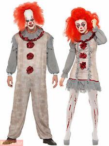 Vintage Clown Costume Mens Ladies Halloween Killer Scary Fancy Dress Pennywise