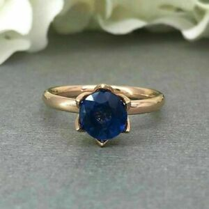1Ct Round Cut Blue Sapphire Solitaire Engagement Ring With 14K Rose Gold Finish