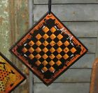 Prim Antique Vtg Style Spooky Halloween Checkers Game Board Scary Graveyard Sign