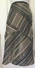 Principles Ladies Skirt Grey/Blue Size 14 A-line Stripe