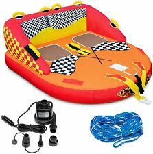 Towable Water 2-Person Floating Raft for Boating with Air Pump&Tow Rope Included