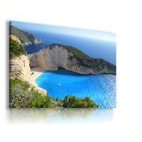 GREECE SEA BEACH View Canvas Wall Art Picture Large SIZES  L260   MATAGA .