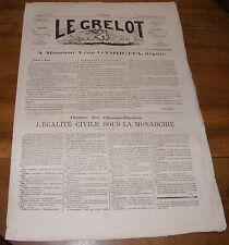 Le Grelot Journal Satirique N°135 A Monsieur Léon Gambetta Député 1873