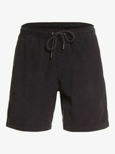 "Quiksilver Men's Black Taxer 17"" Elasticated Cord Shorts Size:  L"