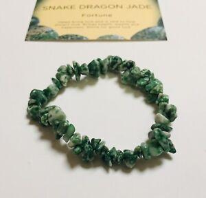 Snake Dragon Jade Gemstone Chip Bracelet with organza bag and crystal card