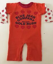 Boutique Gold Rush Outfitters Orange Cotton Romper, SZ 12-18mo