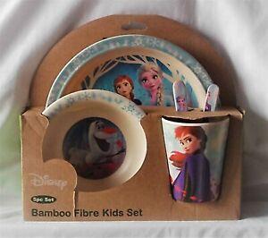 NEW DISNEY Frozen Elsa Anne Olaf pc Bamboo Fibre Kids Dinnerware Set