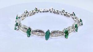 9.00 ct NATURAL DIAMOND marquise EMERALD tennis bracelet 14k white GOLD (VIDEO)