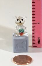 Crystal Bear holding Strawberry on Blue Block Cube Design Pre-Owned