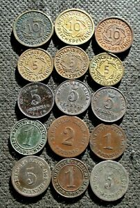 LOT OF FIFTEEN OLD COINS OF GERMANY (EMPIRE - WEIMAR - THIRD REICH) - MIX 1114