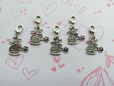 5 Silver Tone Colour Helicopter Clip On Charms