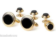 New Black Gold Onyx cuff links and studs with a double ring around the onyx.