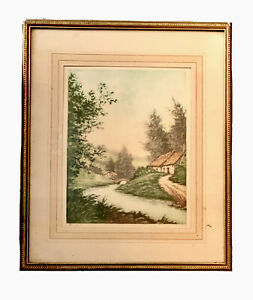 Vintage Paris Etching Society Print Pencil Signed By Pierre Yvonne River France