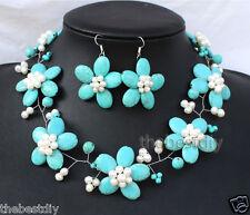 handmade Turquoise Pearl flowers necklace Earrings set Wedding Woman Jewelry