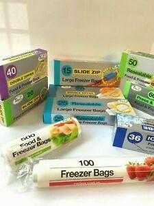 Slide Zip Lock Seal Freezer Bags Fruit Veg Meat Fresh Food Storage Resealable