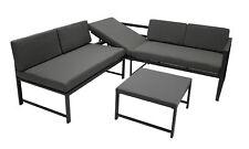 Loungeset Lounge Gartensofa Ecksitzgruppe MONTANA mit Liegefunktion Metall grau