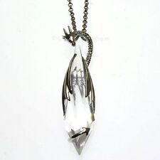 Collar Colgante de Cristal Amor Guardián De Dragón Anne Stokes Plata Plateado CK12