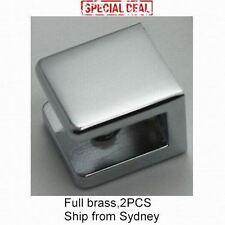 MIRROR CHROME BRASS SQUARE GLASS CLIP CLAMP BRACKET HOLDER 2PCS 5-10mm 15Kg
