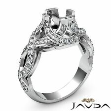 Round Semi Mount Curve Shank Diamond Engagement Designer Halo Ring Platinum 1Ct