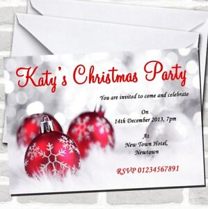 Red, White & Silver Christmas Party Invitations